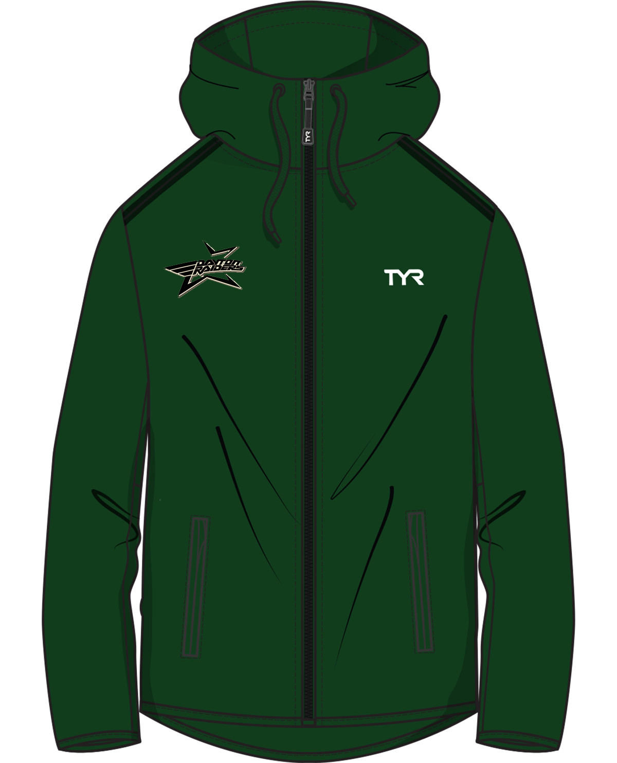 sports shoes 590df 9bade TYR Team Full Zip Hoodie (Green) w/ Embroidered Team Logo and Swimmer Name